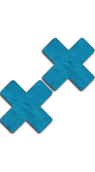 Solid Teal Cross Pasties, Teal X Pasties
