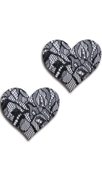 Black and White Lace Heart Pasties