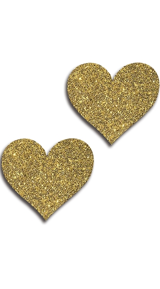 Gold Glitter Heart Pasties, Gold Heart Pasties