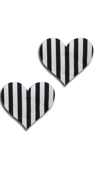 Black and White Striped Heart Pasties