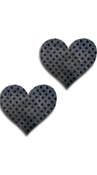 Black Dot Heart Pasties, Black Heart Pasties