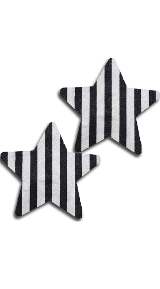 Black and White Striped Star Pasties