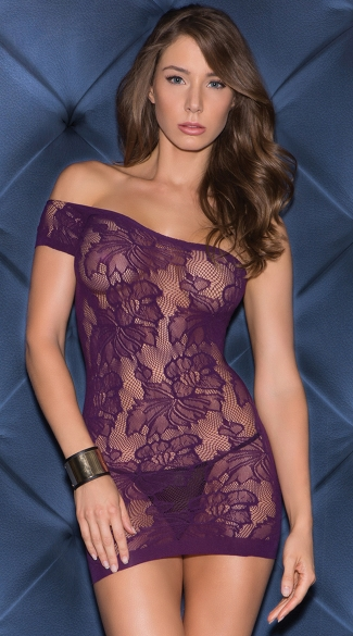 Seamless Single Sleeve Chemise Mini Dress, Sexy Fishnet and Floral Chemise Dress, Chemise Mini Dress Lingerie