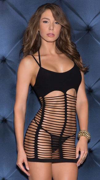 Strappy Desire Seamless Chemise Mini Dress, Strappy Lingerie Dress, Black Strappy Chemise