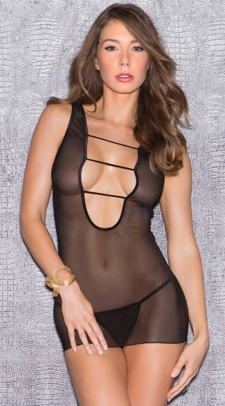 Mesh Tank Chemise with Strappy Accents