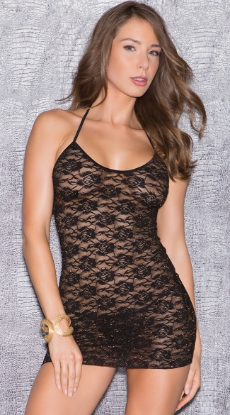 Lacy Halter Chemise with Criss-Cross Backside Cut Out