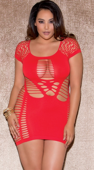 Plus Size Red Cap Sleeve Cut Out Chemise