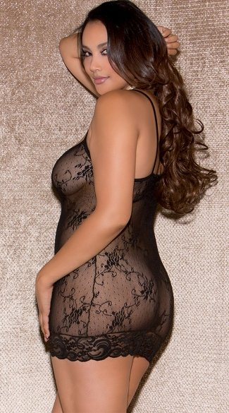 Plus Size Black Lace Trim Chemise