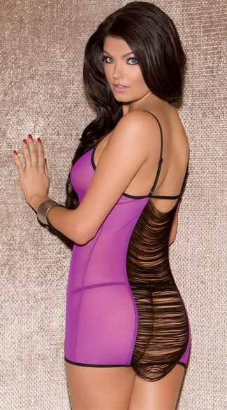 Purple Fringe Back Chemise