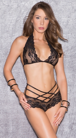 Criss-Cross Lace Bra Top Set