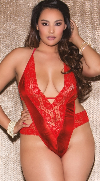 Plus Size Red Metallic and Lace Halter Teddy, Plus Size Metallic Teddy
