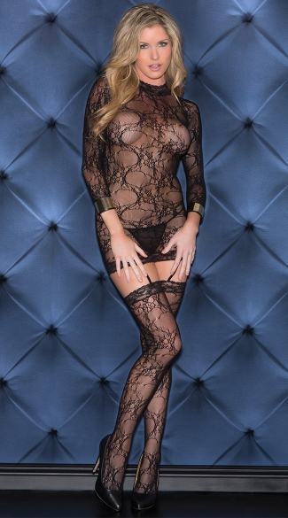 Lacy Turtleneck Bodystocking Dress, Bodystocking Dress with Thigh High Stockings, Black Lace Bodystocking Lingerie