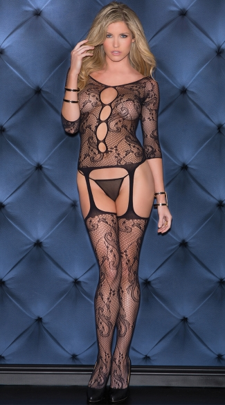 Swirl Print Fishnet Cut Out Bodystocking, Sexy Fishnet Bodystocking, Fishnet Gartered Bodystocking