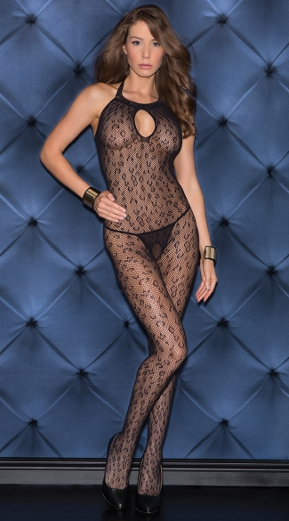 Sexy Leopard Print Open Crotch Bodystocking