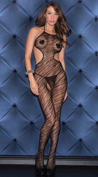 Wild Instinct Zebra Print Bodystocking, Open Crotch Animal Print Bodystocking, Sexy Zebra Print Crotchless Lingerie