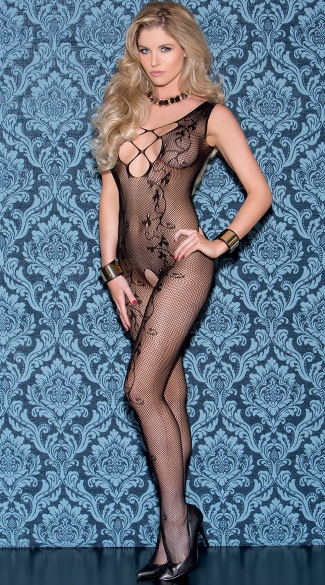 Vine Print Net Bodystocking, Vine Fishnet Body Stocking
