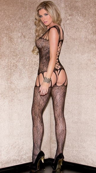 Strappy Floral Garter Bodystocking