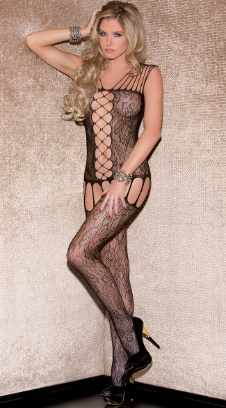 Strappy Floral Garter Bodystocking, Multi Strap Body Stocking
