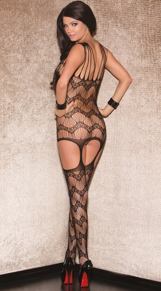 Shredded Wave Patterned Bodystocking