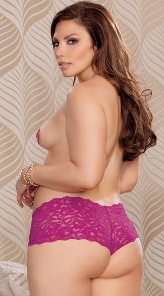 Plus Size Lacy Surprise Open Crotch Boyshort