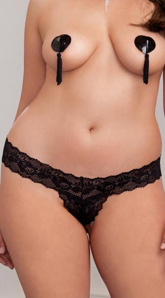 Plus Size Crotchless Scallop Lace Thong, Plus Size Sexy Black Lace Panties, Plus Size Wide Waistband Thongs