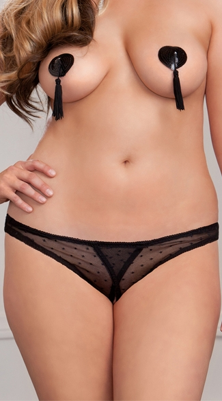 Plus Size Jacquard Mesh Crotchless Panty, Plus Size Sexy Black Open Crotch Panties, Plus Size Crotchless See Through Underwear