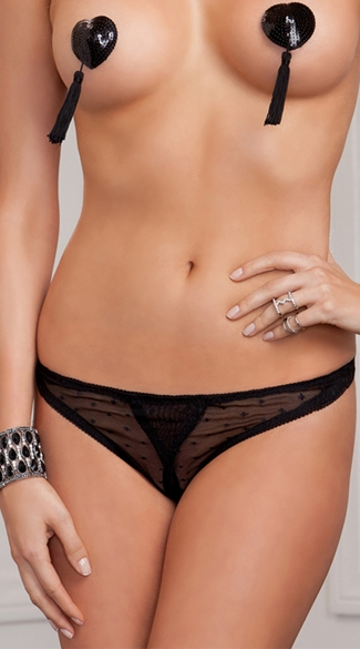 Jacquard Mesh Crotchless Panty, Sexy Black Open Crotch Panties, Crotchless See Through Underwear
