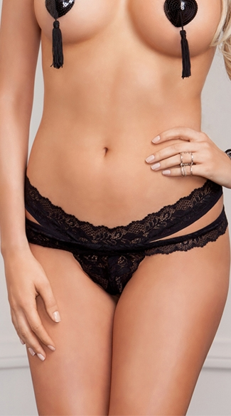 Plus Size Strappy Lace Thong, Plus Size Sexy Stretch Panties, Plus Size Scallop Lace Black Thongs