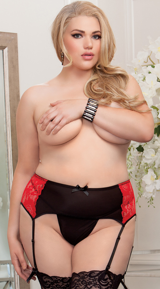 Plus Size Romantic Lace Garter Belt, Red and Black Garter Belt, Valentine\'s Day Garter Belt