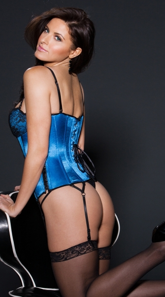 Blue Satin and Lace Corset