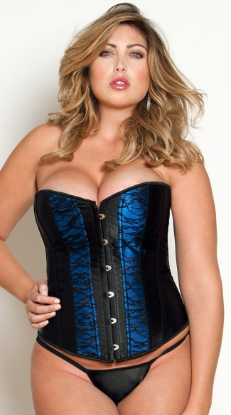 Plus Size Satin and Lace Corset and Thong