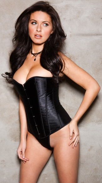 Basic Black Satin Corset, Black Corset with Boning, Black Sweetheart Corset
