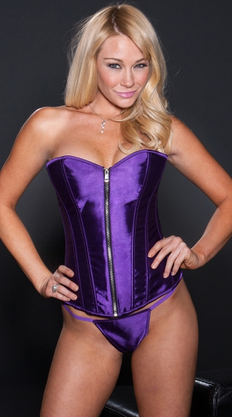 Purple Satin Zipper Corset