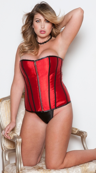 Plus Size Black and Red Reversible Zipper Corset