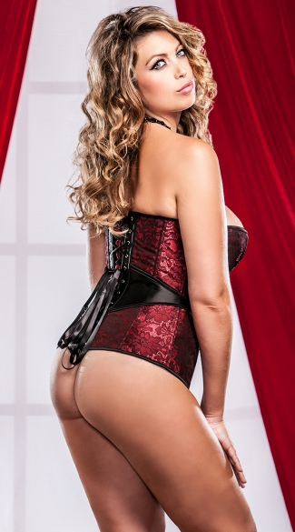 Plus Size Victorian Brocade Corset And G-String