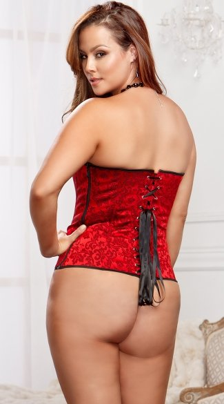 Plus Size Red Brocade Sweetheart Corset