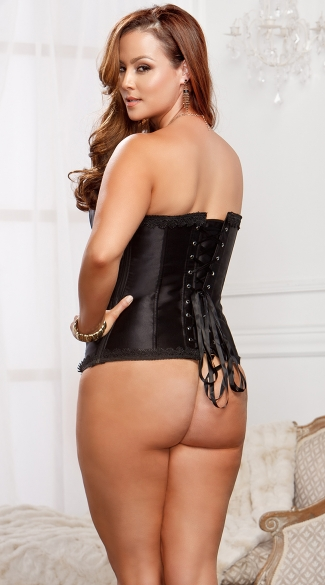 Plus Size Lace Trim Black Satin Corset