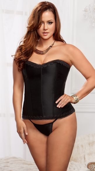 Plus Size Lace Trim Black Satin Corset, Plus Size Black Corset