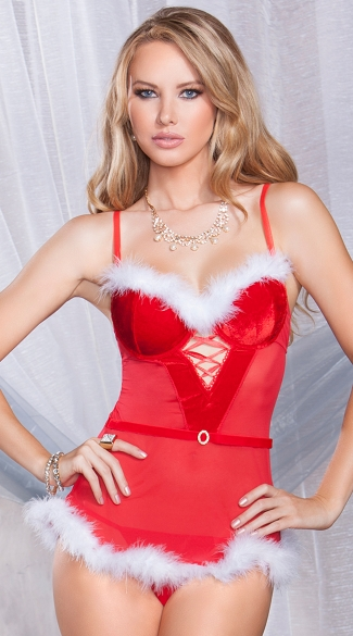 Holiday Hottie Chemise Set, Christmas Chemise and Panty