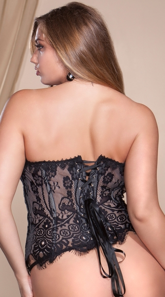 Plus Size Black Eyelash Lace Corset