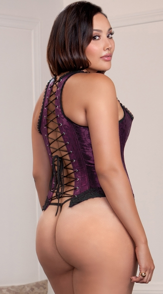 Plus Size Purple Racerback Corset