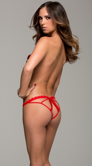 Red Mesh Cage Panty, Red Cage Back Panty