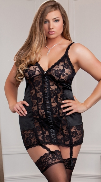 Plus Size Satin and Lace Chemise with Garters, Plus Size Black Chemise