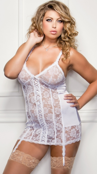 Plus Size Satin and Lace Chemise with Garters