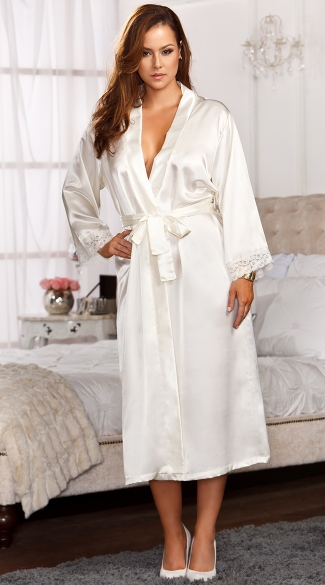 Plus Size Long Satin and Lace Trimmed Robe, Plus Size Long Robes For Women, Plus Size Sexy Robes