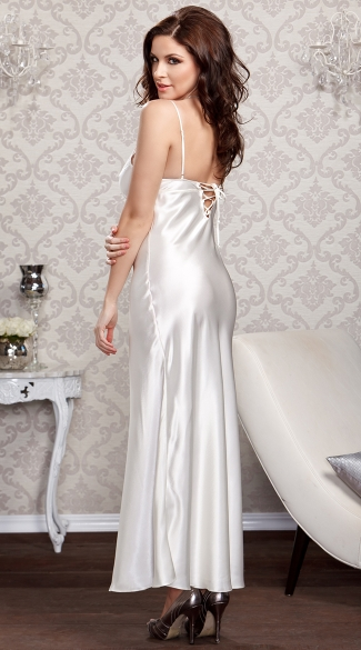 Lace Trimmed Floor Length Satin Gown