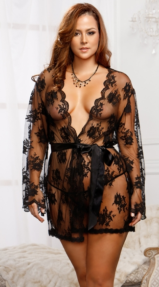 Plus Size Lace Robe with Butterfly Sleeves, Plus Size Robes For Women, Plus Size Black Lace Robe