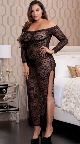 Plus Size Midnight Affair Lace Gown, Plus Size Sexy See Through Long Dresses, Plus Size Floor Length Lace Dresses