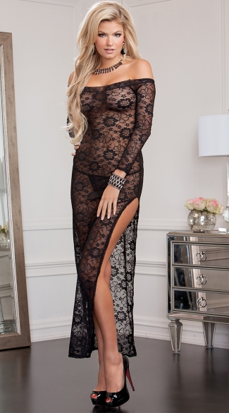 Midnight Affair Lace Gown, Sexy See Through Long Dresses, Floor Length Lace Dresses