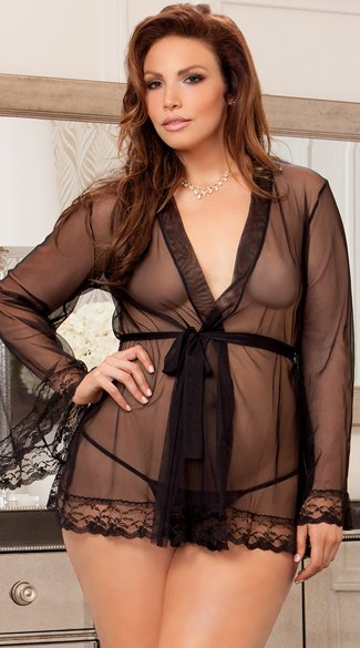 Plus Size Long Sleeve Sheer Robe, Black Sheer Robe, Lingerie Robe